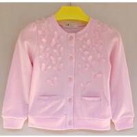 童装女童春秋薄外套立体针织开衫蝴蝶单排扣粉色白色柔软