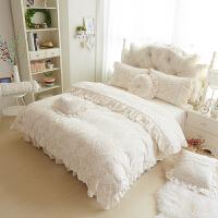 床上四件套珊瑚绒冬季加厚法兰绒床罩床裙公主风天鹅绒双面绒被套
