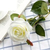 艾欧唯 花干花花束绢花摆件摆设花艺单支仿真玫瑰花假花套装客厅餐桌装饰 白色 单支