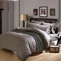 ???酒店床上用品纯棉四件套纯色简约全棉床单被套宾馆床品素色4件套