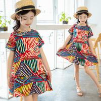 童装女童连衣裙夏季彩色棉布连衣裙儿童复古无袖连衣裙2018新款