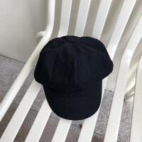 贝雷帽女秋冬韩版八角帽日系黑色画家帽休闲鸭舌薄款帽子yly M(56-58cm)