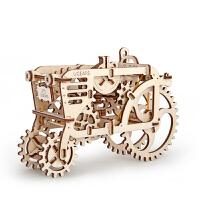 乌克兰ugears机械传动木质模型密码箱创意DIY拼装玩具 拖拉机 现货