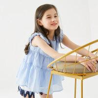 【1件2.5折到手价:53.8】米喜迪mecity童装19夏女童抽褶拼接短袖衬衫娃娃衫