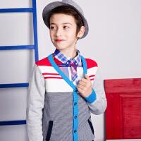 【3件3折:119.7元】暇步士童装男大童童装春装纯棉时尚条纹开身线衣