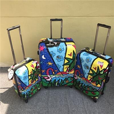 纯PC拉杆箱 静音万向轮行李箱精美印花旅行箱 发货周期:一般在付款后2-90天左右发货,具体发货时间请以与客服协商的时间为准