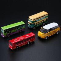 儿童玩具汽车合金香港双层巴士公交旅游客车模型迷你小车套装组