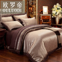 欧式床单四件套被套全棉纯棉1.5/1.8m/2.0m米床上用品贡缎六件套 2.0m床 六件套-床单款