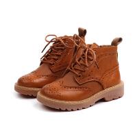 2018年秋季新款复古英伦风时尚雕花儿童马丁靴韩版男女童真皮靴子