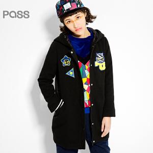 PASS原创潮牌冬装 时尚拼接皮质中长款连帽潮流撞色棉服女6540822044