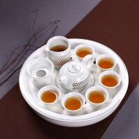 创意玲珑镂空景德镇功夫茶具整套装大号陶瓷茶盘储水托盘圆形家用
