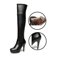 过膝长靴女2018冬新款真皮细跟高筒靴子高跟加绒长筒靴