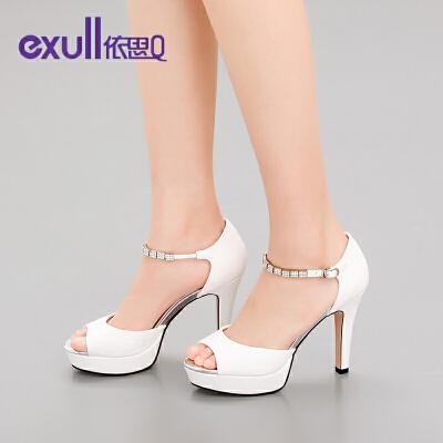 依思q新款夏季高跟性感防水台纯色金属细跟女凉鞋潮