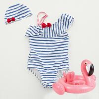 儿童泳衣女孩韩国连体条纹游泳衣宝宝女童婴儿可爱度假温泉泳装