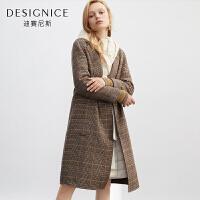 迪赛尼斯冬季女装毛呢外套格子中长款羊毛毛呢大衣女