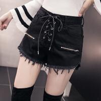秋冬牛仔短裤女2018新款外穿时尚高腰绑带流苏毛边阔腿热裤潮
