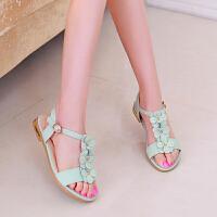 夏季新款儿童凉鞋韩版女童公主鞋中大童花朵小女孩学生凉鞋