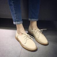 2016夏季学院风圆头系带单鞋女平底鞋新款韩版文艺复古学生单鞋