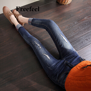 Freefeel2018春夏新款牛仔裤九分裤女款韩版修身显瘦破洞铅笔裤