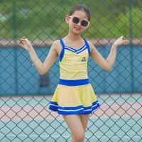 中大童�和�泳衣女孩�n���B�w裙式�\�涌钣狙b平角女童�W生游泳衣