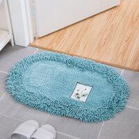 卫浴卫生间地垫全棉雪尼尔卧室防滑垫加厚吸水脚垫子浴室地垫机洗 椭圆60*90cm 赠送防滑垫