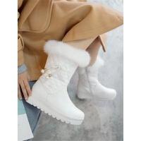 韩版短靴公主女童靴子2018秋冬季大童保暖加厚绒儿童雪地靴女童鞋