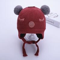 宝宝帽子冬季护耳婴儿毛线帽3-25个月6可爱潮男童女童针织儿童帽 酒红色 比拉睫毛护耳 均码