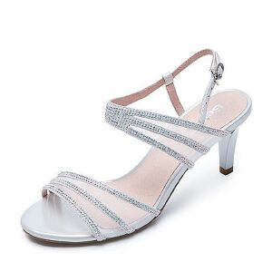 Belle/百丽夏季专柜同款羊皮/纺织品细高跟女凉鞋Q9W1DBL7
