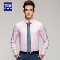 罗蒙青年男士青年长袖衬衣休闲纯色提花职业装商务衬衣男