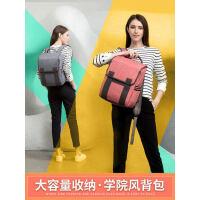 2018新款以诺双肩包女学院风学生书包男电脑大容量背包双肩电脑包
