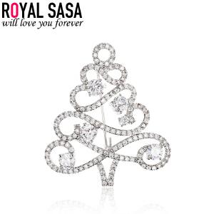 皇家莎莎韩版女士胸针领针 个性开衫西装胸针女 圣诞树胸花配饰品
