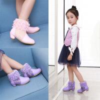 女童靴子2017秋冬季高跟公主靴小女孩加绒雪地棉靴韩版儿童短靴