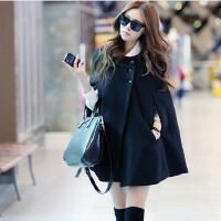 欧美时尚气质女装冬装斗篷蝙蝠袖宽松大码毛呢外套黑色呢子大衣