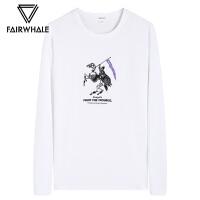 马克华菲修身长袖T恤男2018秋季新款韩版潮流白色圆领印花上衣潮