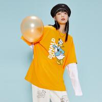 【5.10日抢购价:55】美特斯邦威女装2020秋装新款长袖唐老鸭假两件圆领套头印花T恤