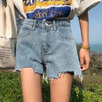夏季女装韩版宽松百搭高腰侧边小开叉不规则牛仔裤阔腿裤短裤显瘦 图片色