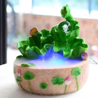 创意家居装饰品桌面养鱼喷泉流水水景摆设风水轮摆件闺蜜礼物