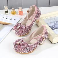 童鞋女童高跟鞋春秋2019新款儿童公主鞋水钻水晶鞋小女孩皮鞋