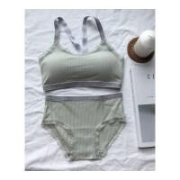 运动文胸套装内衣吊带抹胸螺纹睡眠X型美背性感小姐交叉两件套女 均码