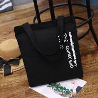 韩版简约百搭帆布包男女文艺单肩手提包学生书包森潮购物袋学院风