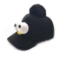 秋冬款可爱鸭舌帽   儿童棒球帽  男童女童帽子  芝麻街大眼睛宝宝呢帽子