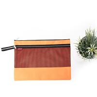 拉链文件袋 会议袋 文具彩色收纳袋 A4多功能商务袋双层袋2105 橙色