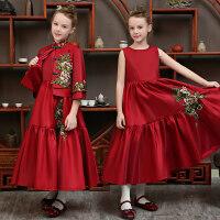 儿童礼服公主裙2018新款秋冬走秀女童长袖晚礼服花童中国风礼服裙 酒红色