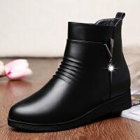 妈妈棉鞋秋冬季加绒保暖靴子中年真皮短靴平底女士皮鞋中老年女鞋SN0511