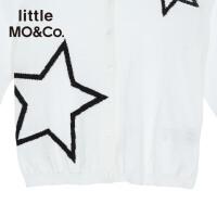 【折后价:111.6】littlemoco女童圆领星星图案短款针织纽扣开衫上衣KA172CAR302 moco