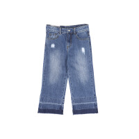 littlemoco中大童女童破洞时髦舒适个性阔腿牛仔裤KA171PAT405 moco