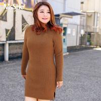 MsShe加大码女装2017新款冬立领套头毛衣长款针织衫M1740247