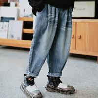 儿童秋装男童裤子长裤薄款软牛仔裤潮中大童装男孩