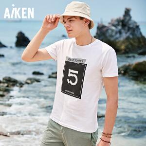 Aiken短袖T恤男夏季新款圆领打底衫男士字母体恤学生装潮青年