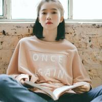 2018秋季新款chic学院风蝙蝠袖宽松打底卫衣贴布字母印花学生套头衫女